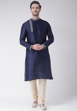 Solid Color Dupion Silk Kurta Set in Navy Blue