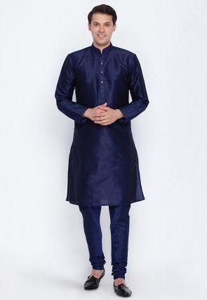 Solid Color Dupion Silk Kurta Set in Navy Blue
