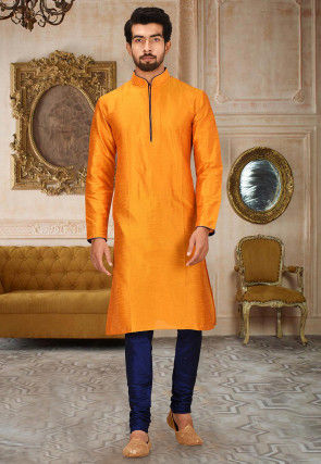 Solid Color Dupion Silk Kurta Set in Orange