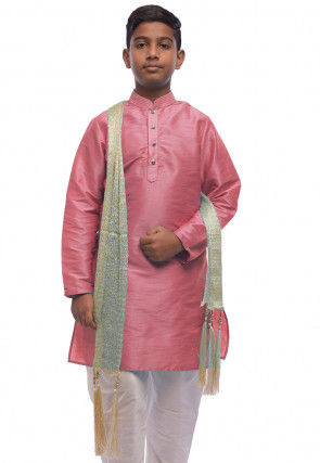 Solid Color Dupion Silk Kurta Set in Pink