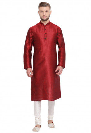 Solid Color Dupion Silk Kurta Set in Red