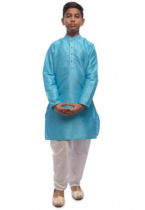Solid Color Dupion Silk Kurta Set in Turquoise