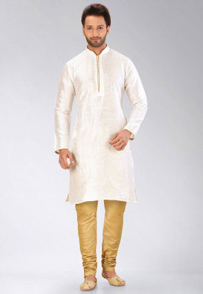 Solid Color Dupion Silk Kurta Set in White