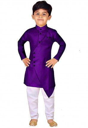 Solid Color Dupion Silk Layered Asymmetric Kurta Set in Purple