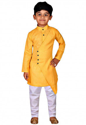 Solid Color Dupion Silk Layered Asymmetric Kurta Set in Yellow