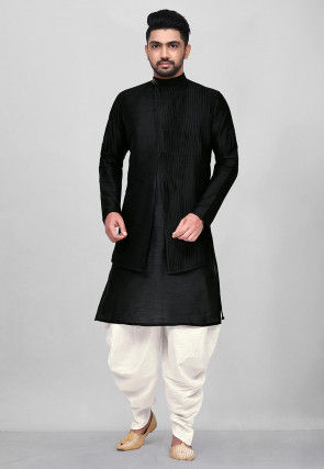 Solid Color Dupion Silk Layered Dhoti Kurta in Black