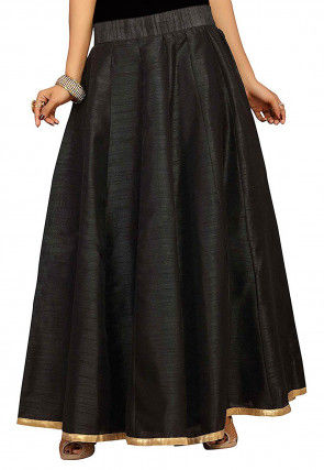 Solid Color Dupion Silk Long Skirt in Black