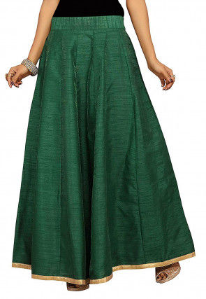 Solid Color Dupion Silk Long Skirt in Dark Green