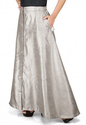 Solid Color Dupion Silk Long Skirt in Grey