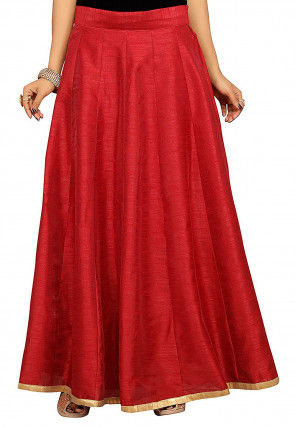 Solid Color Dupion Silk Long Skirt in Maroon