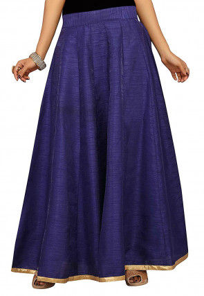 Solid Color Dupion Silk Long Skirt in Navy Blue