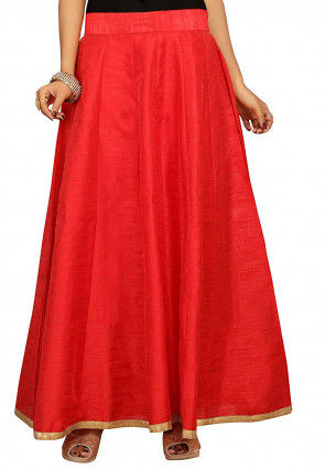 Solid Color Dupion Silk Long Skirt in Red