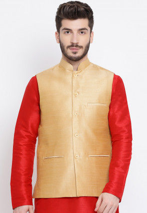 Solid Color Dupion Silk Nehru Jacket in Beige