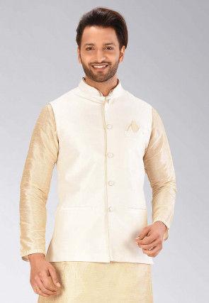 Solid Color Dupion Silk Nehru Jacket in Cream