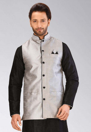 Solid Color Dupion Silk Nehru Jacket in Grey