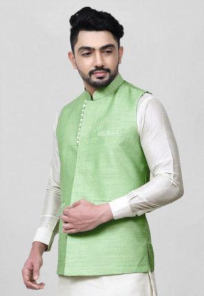 Solid Color Dupion Silk Nehru Jacket in Light Green