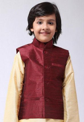 Solid Color Dupion Silk Nehru Jacket in Maroon