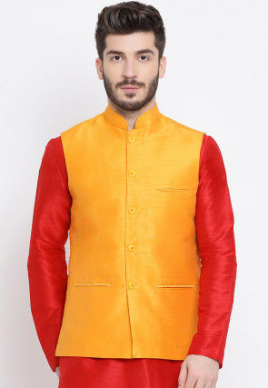 Solid Color Dupion Silk Nehru Jacket in Mustard