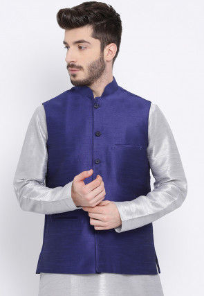 Solid Color Dupion Silk Nehru Jacket in Navy Blue