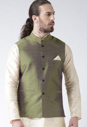 Solid Color Dupion Silk Nehru Jacket in Olive Green