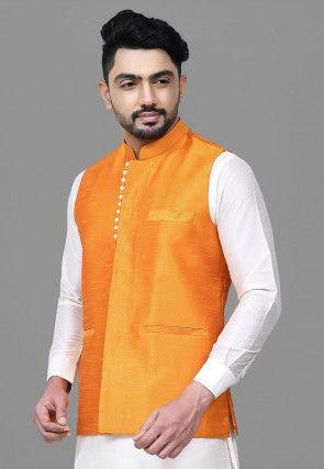 Solid Color Dupion Silk Nehru Jacket in Orange