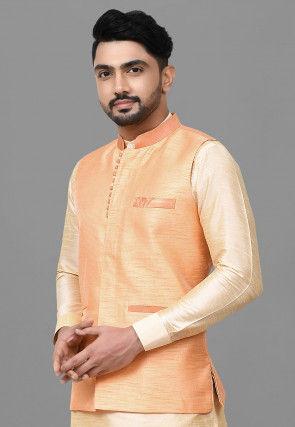 Solid Color Dupion Silk Nehru Jacket in Peach Orange