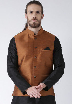 Solid Color Dupion Silk Nehru Jacket in Rust