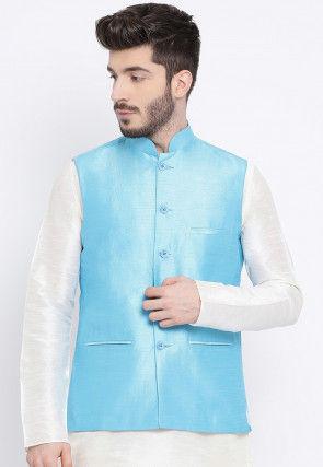 Solid Color Dupion Silk Nehru Jacket in Sky Blue