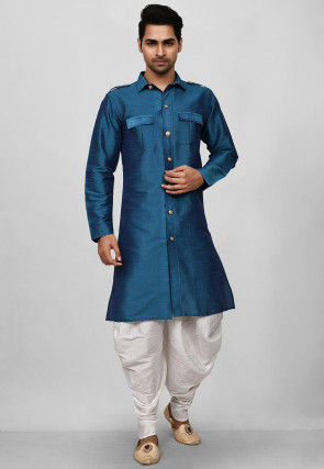 Solid Color Dupion Silk Paithani Suit in Teal Blue