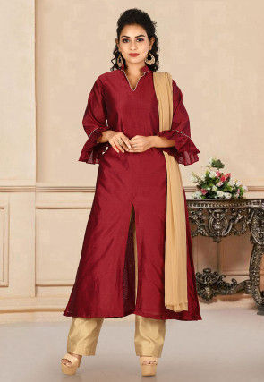 Solid Color Dupion Silk Pakistani Suit in Maroon