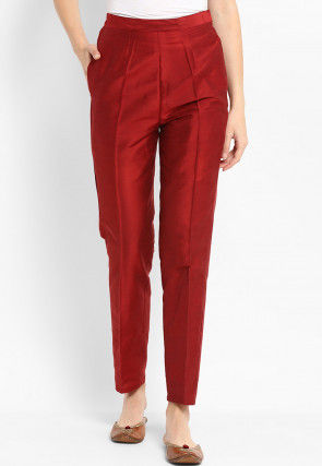 Solid Color Dupion Silk Pant in Maroon