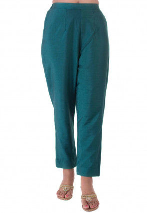Solid Color Dupion Silk Pant in Teal Blue