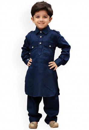 Solid Color Dupion Silk Pathani Suit in Navy Blue