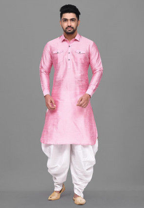 Solid Color Dupion Silk Pathani Suit in Pink