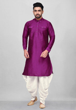 Solid Color Dupion Silk Pathani Suit in Purple