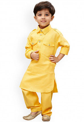 Solid Color Dupion Silk Pathani Suit in Yellow