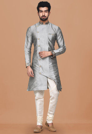 Solid Color Dupion Silk Sherwani in Grey