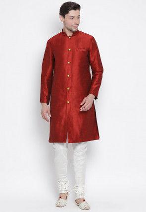 Solid Color Dupion Silk Sherwani in Maroon