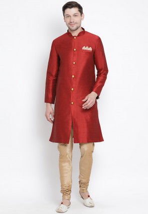 Solid Color Dupion Silk Sherwani in Maroon