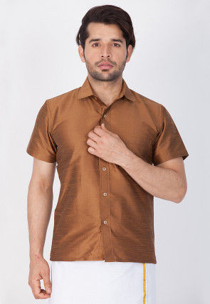 Solid Color Dupion Silk Shirt in Brown