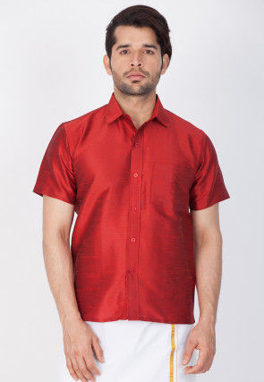 Solid Color Dupion Silk Shirt in Maroon