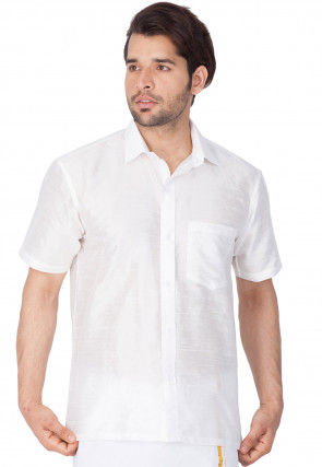 Solid Color Dupion Silk Shirt in White