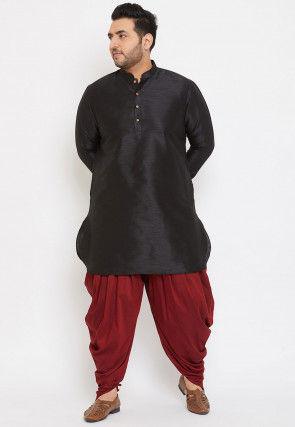 Solid Color Dupion Silk Short Dhoti Kurta in Black