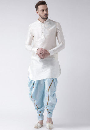 Solid Color Dupion Silk Short Dhoti Kurta in Off White