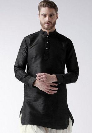 Solid Color Dupion Silk Short Kurta in Black