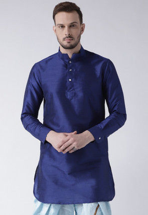 Solid Color Dupion Silk Short Kurta in Blue