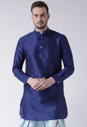 Solid Color Dupion Silk Short Kurta in Blue