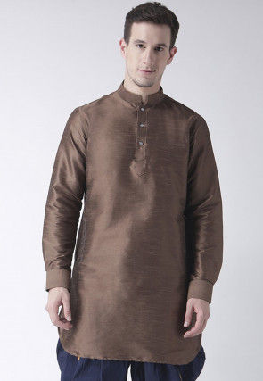 Solid Color Dupion Silk Short Kurta in Brown
