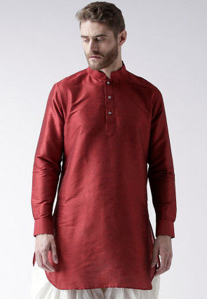 Solid Color Dupion Silk Short Kurta in Maroon