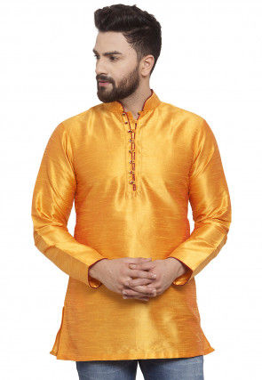 Solid Color Dupion Silk Short Kurta in Mustard